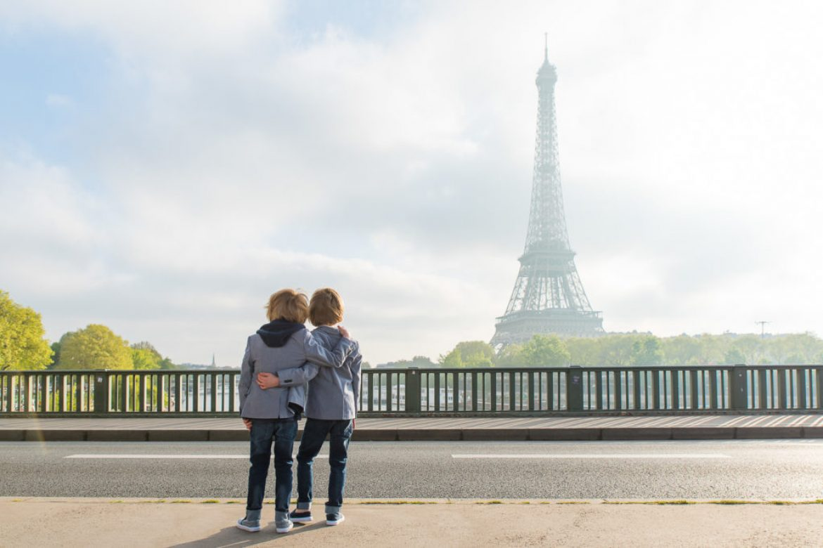 Twins visiting Paris